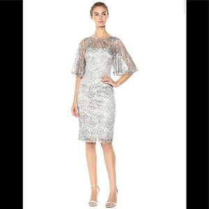 NWT,Adrianna Papell Metallic Lace Flared Sleeve